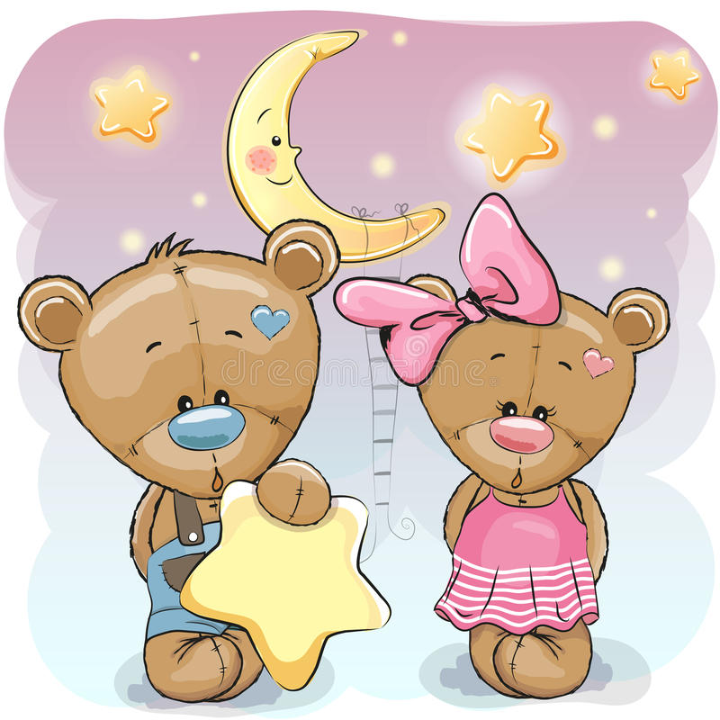 Teddy Bear Girl and Boy with a star. Cute cartoon Teddy boy gives a Teddy girl a star vector illustration