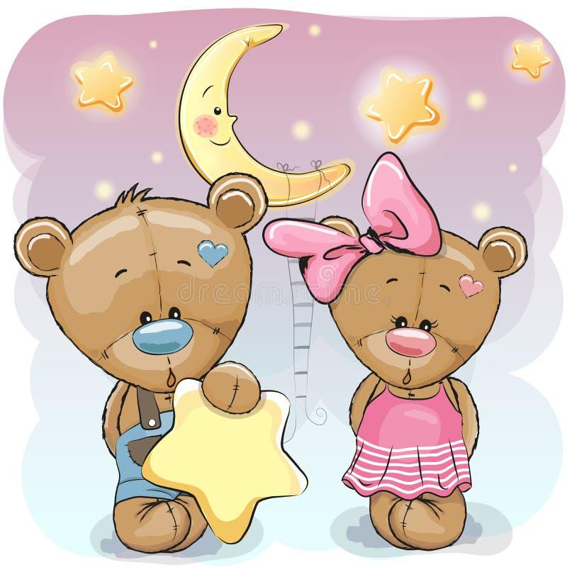 Teddy Bear Girl e menino com uma estrela ilustração do vetor