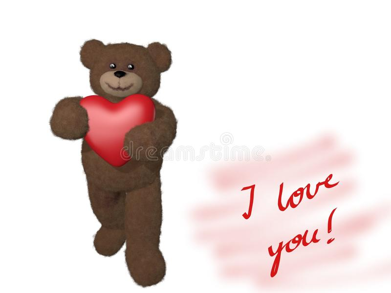 Download Teddy bear giving heart stock illustration. Image of fluffy - 22677103