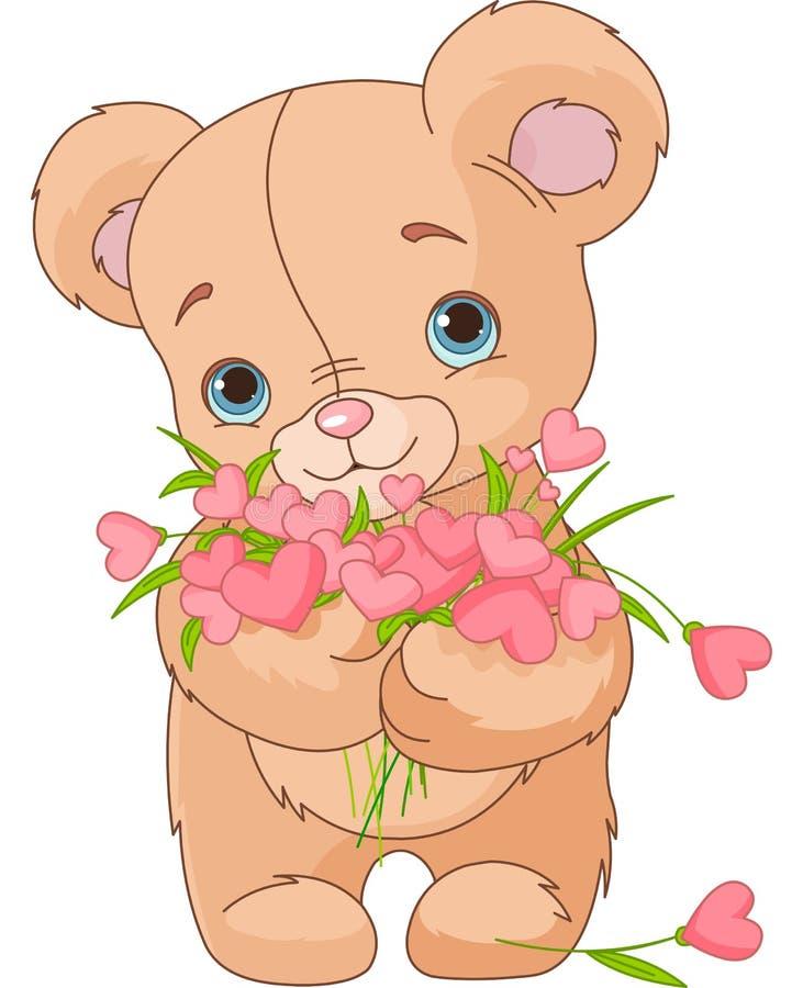 teddy bear giving hearts bouquet stock photo image 28685030 Teddy Bear Outline Vector School Teddy Bear Vector