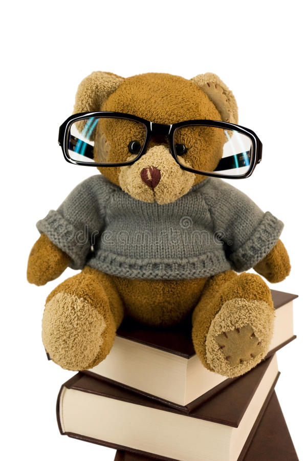 Teddy Bear, Glasses And Pile Of Old Books Stock Photo ...