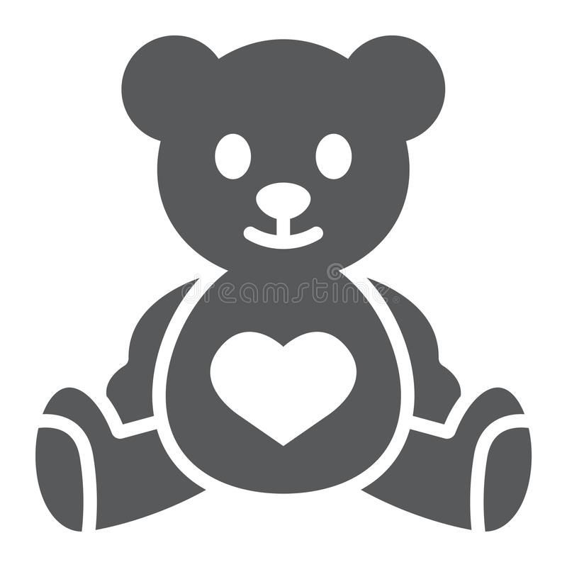 Teddy bear glyph icon, child and toy, animal sign, vector graphics, a solid pattern on a white background. stock illustration