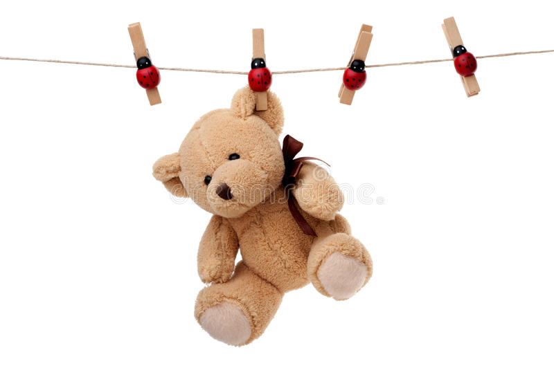 Teddy bear hanging on clothesline. Small teddy bear hanging on clothesline, isolated on white background royalty free stock photography