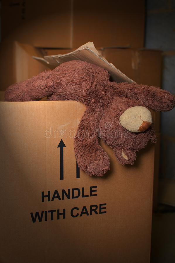 Teddy bear hanging out of a cardboard box in a loft stock photography