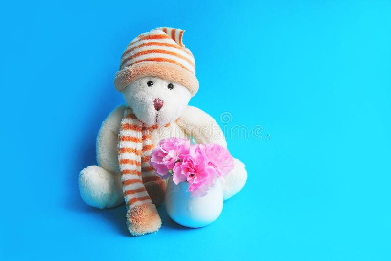 Teddy bear in a hat and balls next to a bouquet of pink carnations royalty free stock images