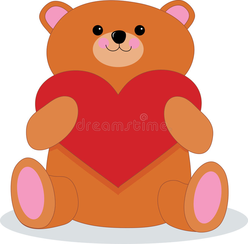Teddy Bear with Heart. Brown Teddy bear holding a big red heart royalty free illustration