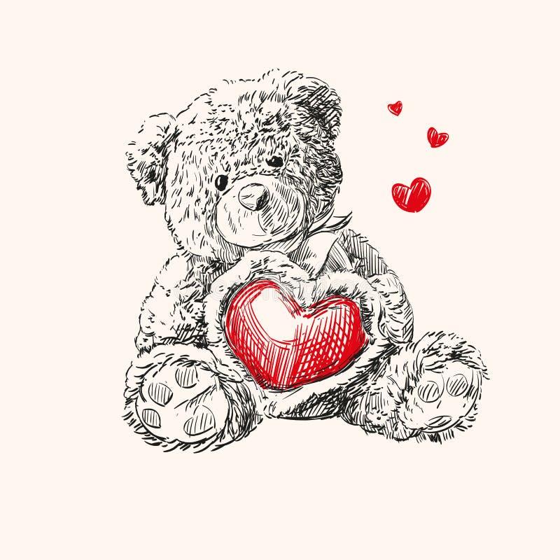 Teddy bear with heart. stock illustration