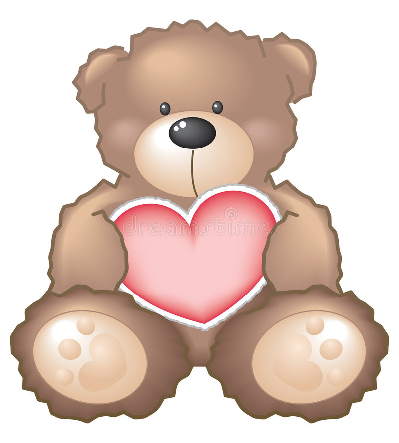 Teddy Bear with Heart. A cute teddy bear holding a heart. EPS file compatible with Adobe Illustrator 9 and up vector illustration