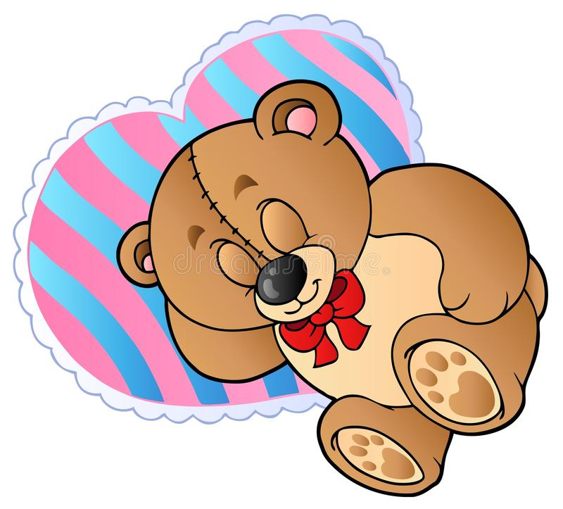 Download Teddy Bear On Heart Shaped Pillow Stock Vector - Image: 18270512