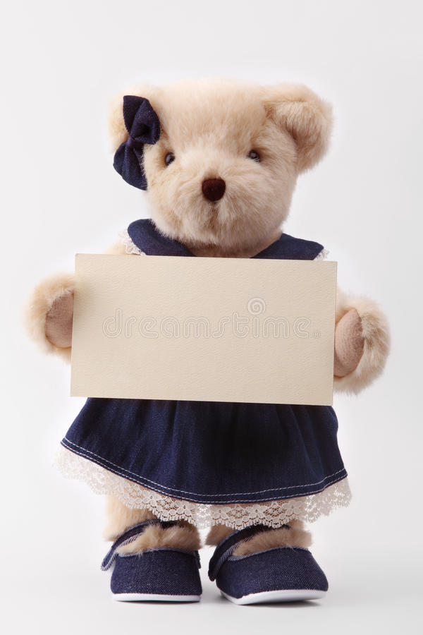 Download Teddy Bear Holding A Blank Card Stock Images - Image: 12590474