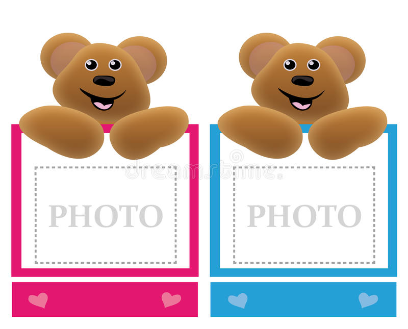 Teddy bear holding frame stock illustration. Illustration of pink ...