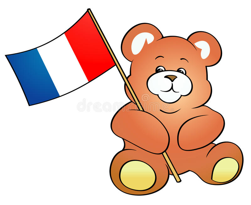 Teddy Bear Holding French Flag Stock Image