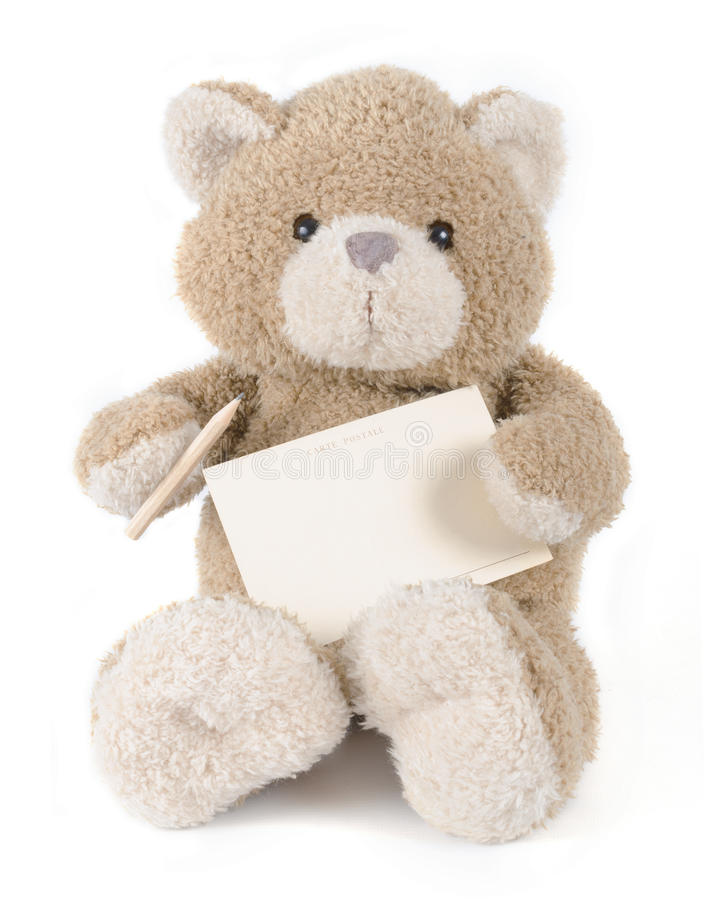 Free Teddy Bear Holding Greeting Card Royalty Free Stock Image - 51436606