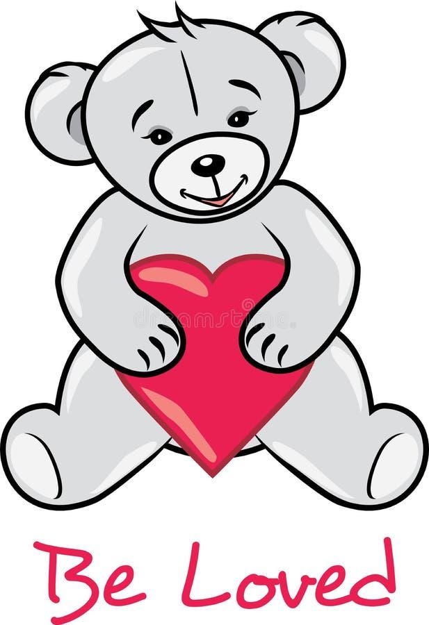 Teddy bear holding a heart. Be loved stock photos