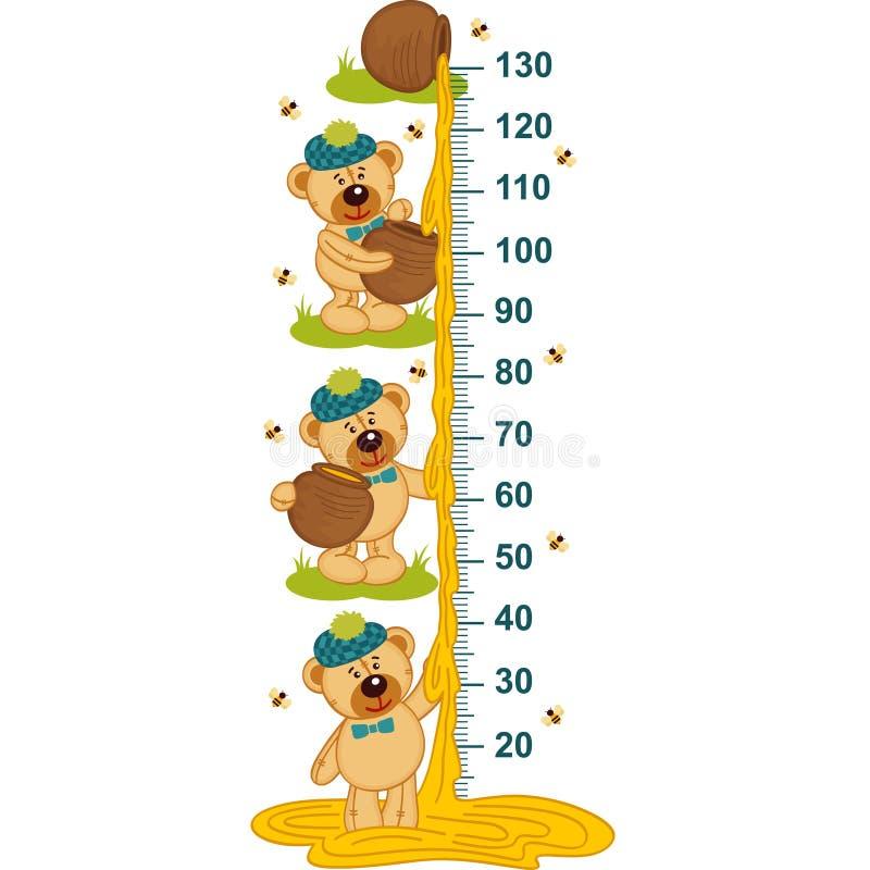 Teddy bear and honey height measure. Vector illustration, eps stock illustration