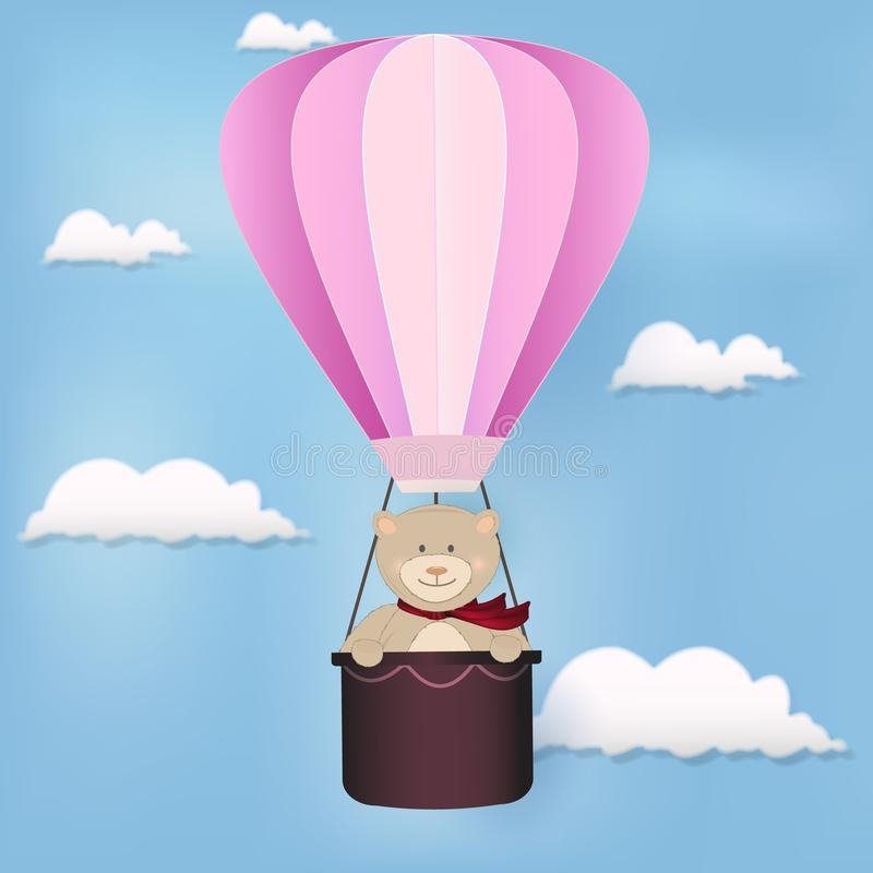 Teddy bear and hot air balloon floating on sky illustration background stock illustration