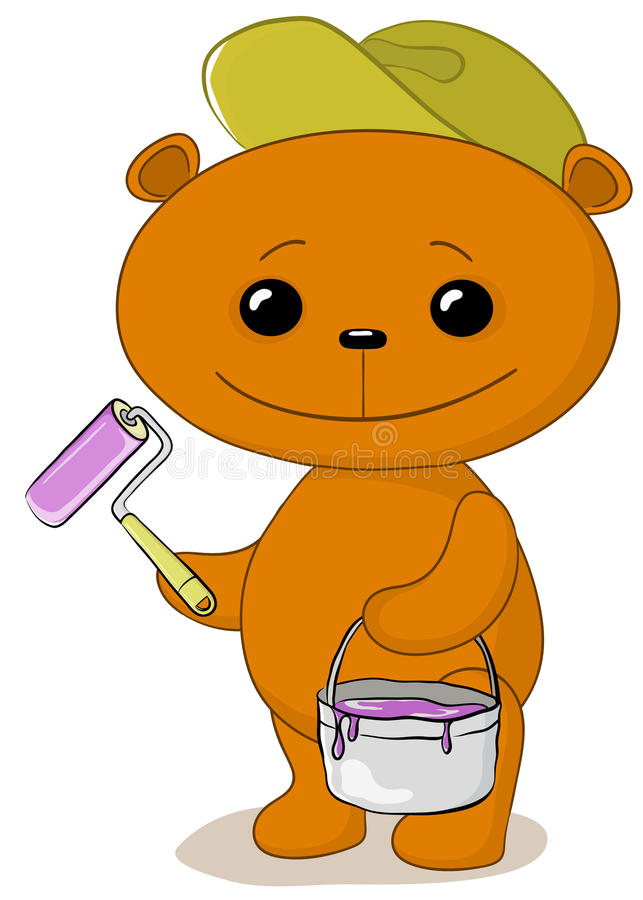 Teddy bear house painter. Cartoon, toy teddy bear worker house painter with a tool and a bucket of paint royalty free illustration