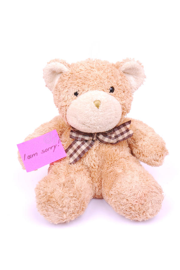 Teddy Bear With I Am Sorry Note Royalty Free Stock Photo
