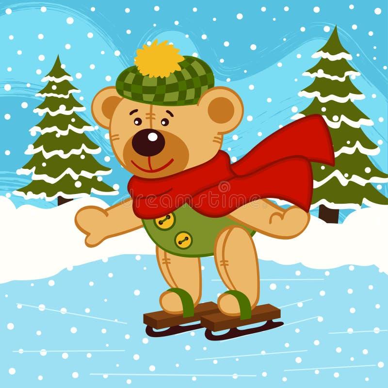 Teddy bear on ice skates. Vector illustration, eps royalty free illustration