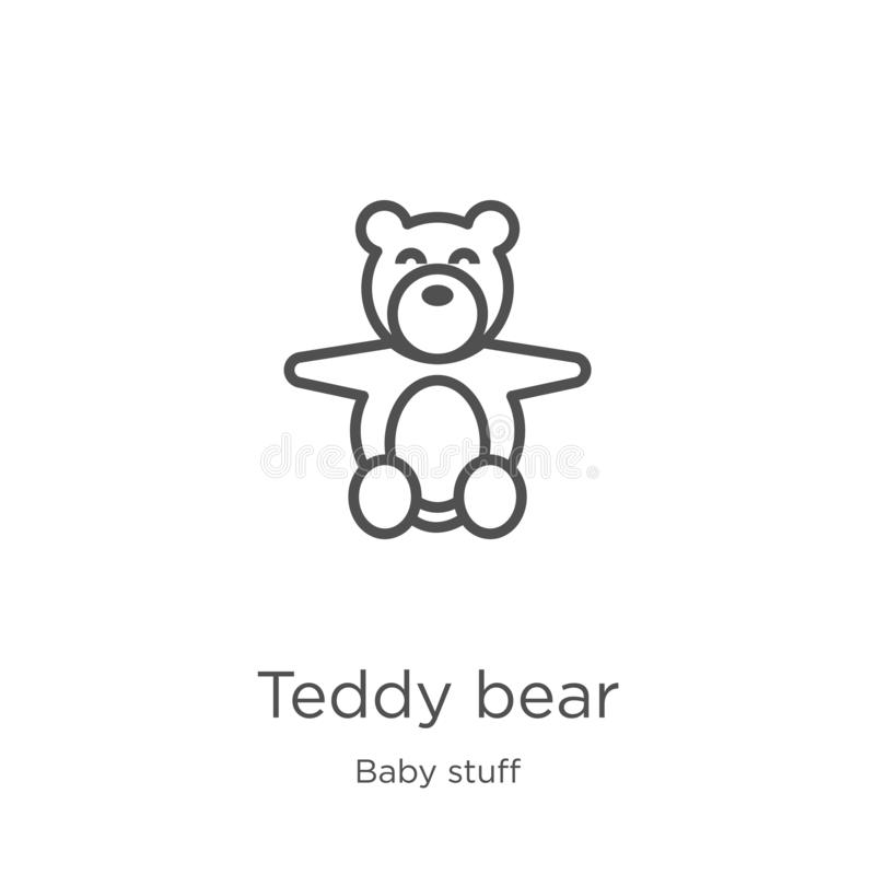 teddy bear icon vector from baby stuff collection. Thin line teddy bear outline icon vector illustration. Outline, thin line teddy stock illustration