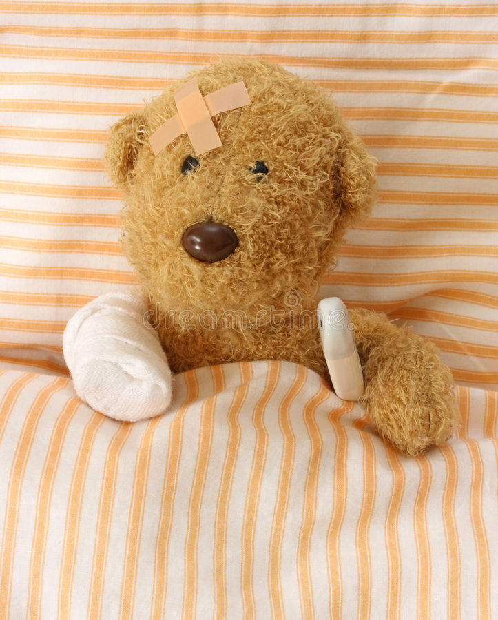 Teddy bear ill royalty free stock photos