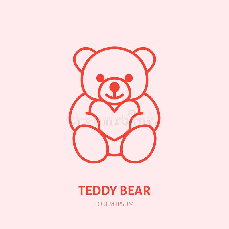 Teddy bear illustration. Plush flat line icon, toy store logo. Valentines day present sign stock illustration