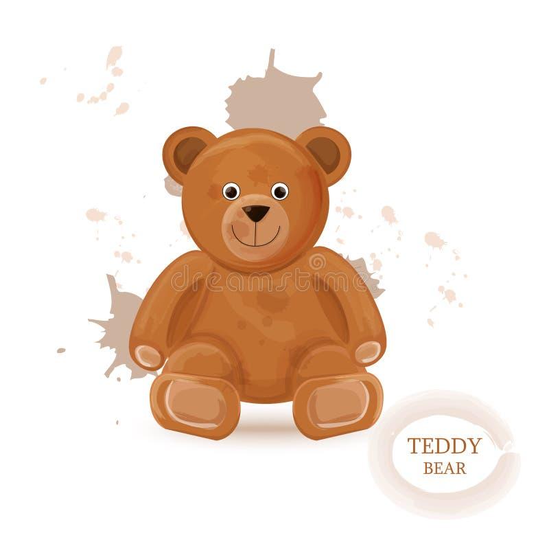 Teddy bear isolated Vector watercolor. lovely cute cartoon style bears vector illustration