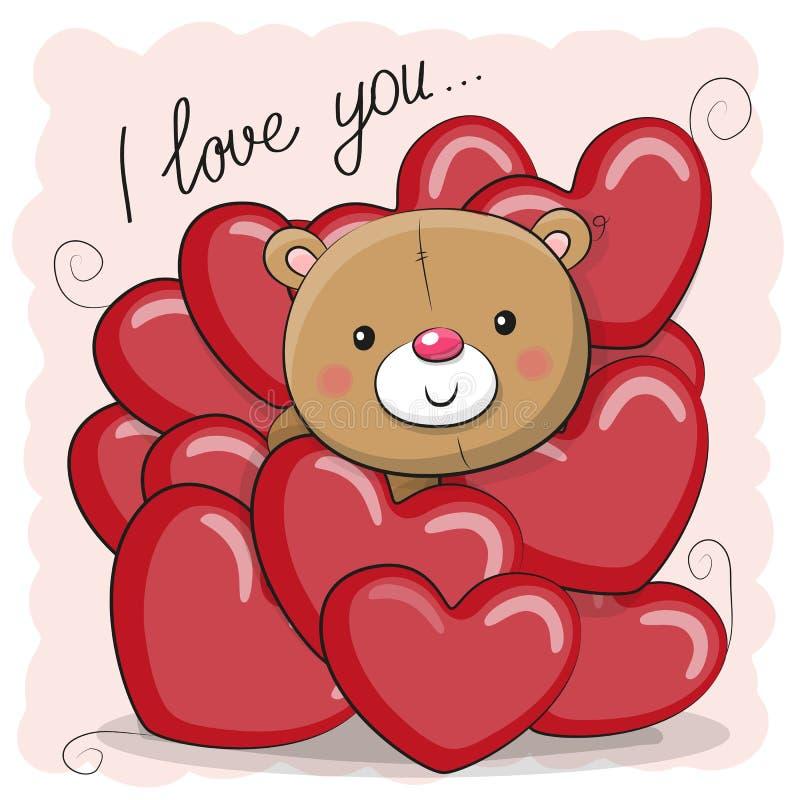 Teddy Bear lindo en corazones stock de ilustración