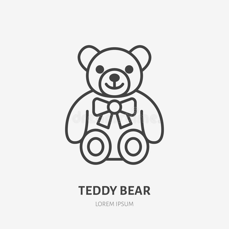 Teddy bear line icon, baby soft toy flat logo. Cute plush animal vector illustration. Sign for kids shop.  vector illustration