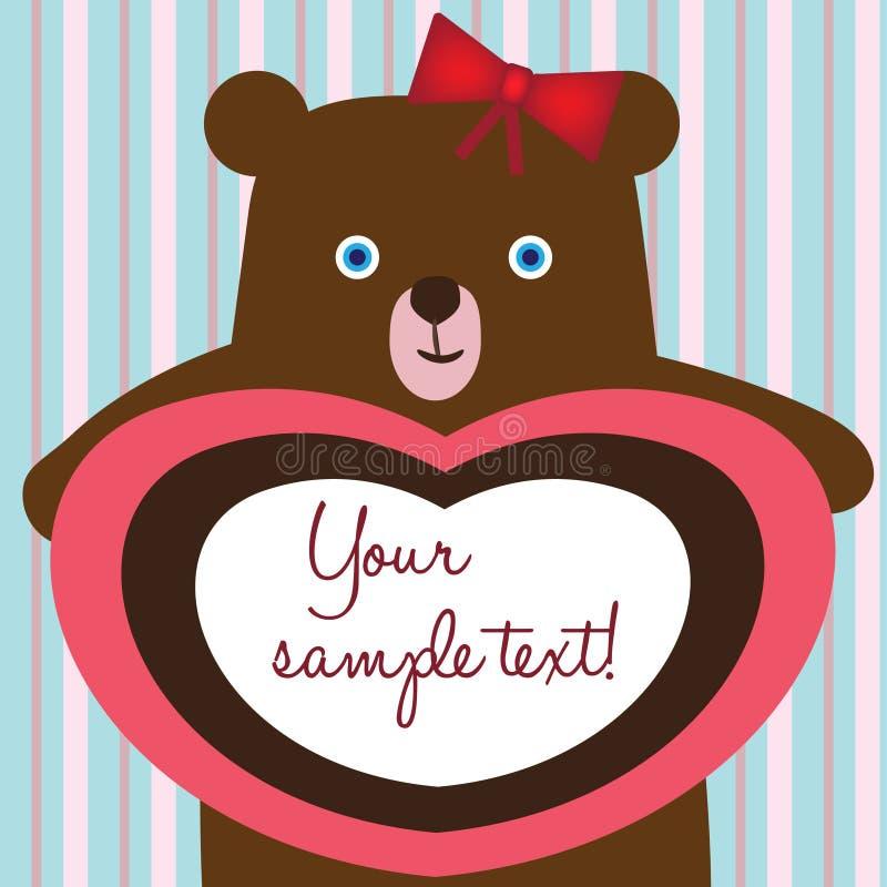 Teddy bear love card stock illustration