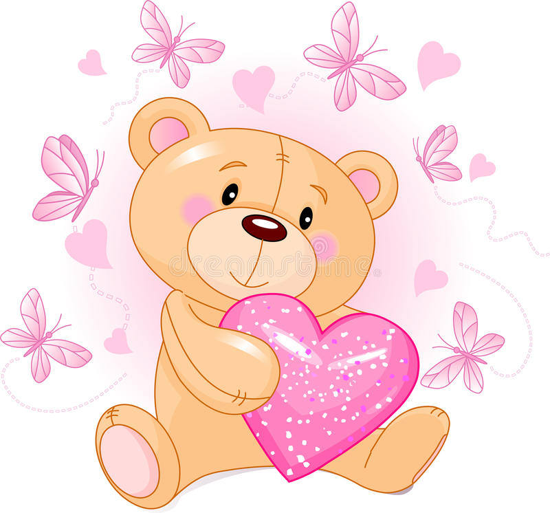 Teddy Bear with love heart. Cute Teddy Bear sitting with pink love heart