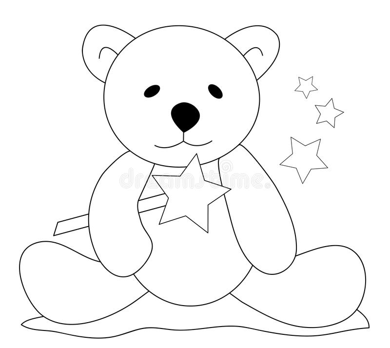 Teddy bear with magic wand. Black & white sketch of a teddy bear sitting on the ground and holding a magic wand vector illustration