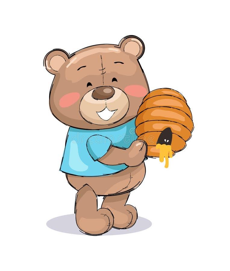 Teddy Bear masculin dans le T-shirt bleu tenant le miel de ruche illustration stock