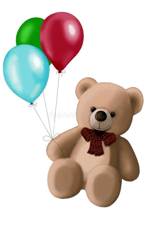 Teddy Bear med ballonger på vit bakgrund arkivfoton