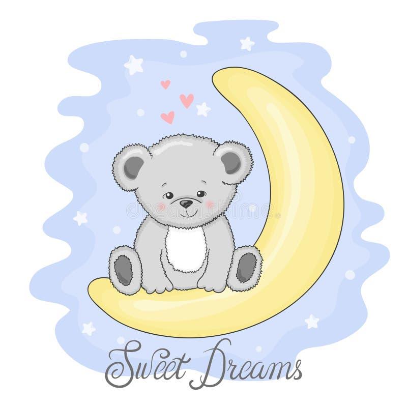 Teddy Bear mignon sur la lune Rêves doux illustration libre de droits