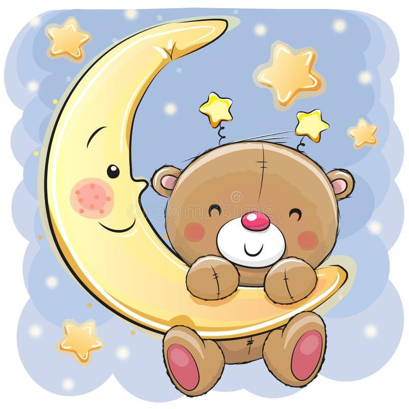 Teddy Bear on the moon. Cute Cartoon Teddy Bear on the moon