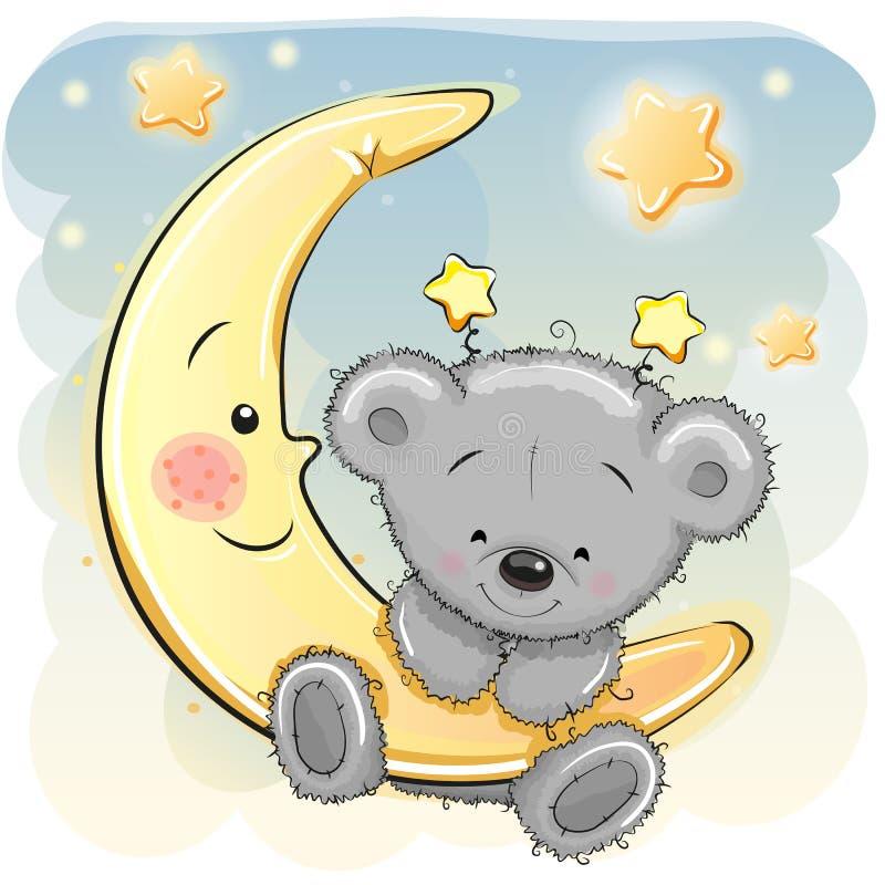 Teddy Bear na lua ilustração royalty free