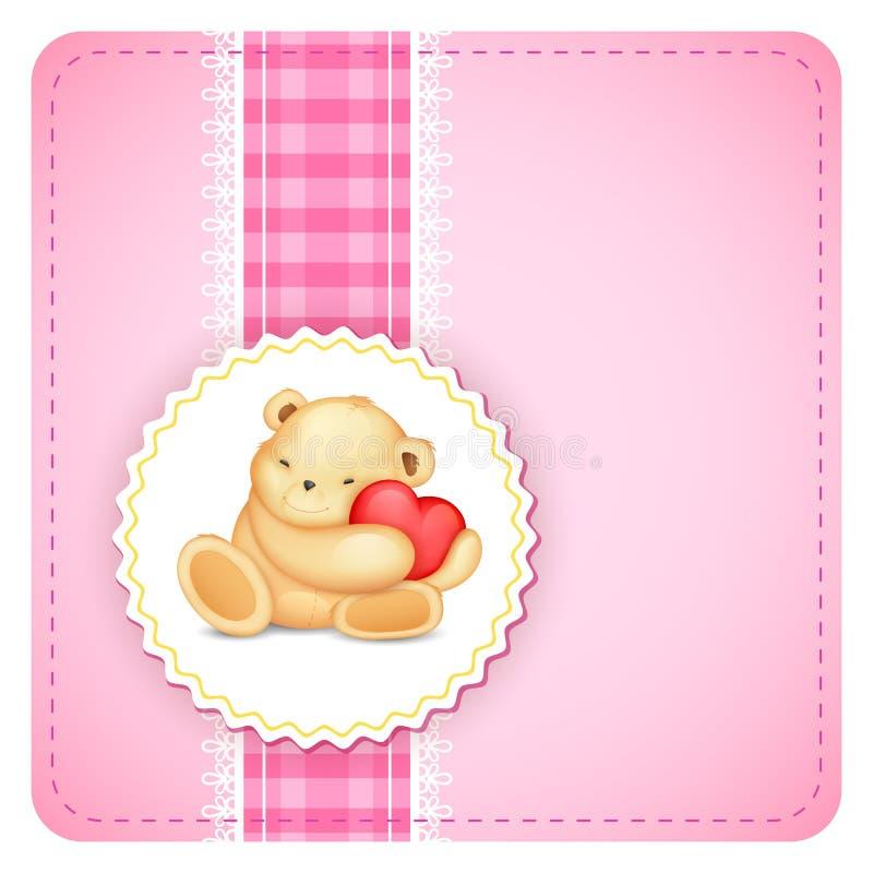 Teddy Bear nel fondo del pizzo illustrazione di stock