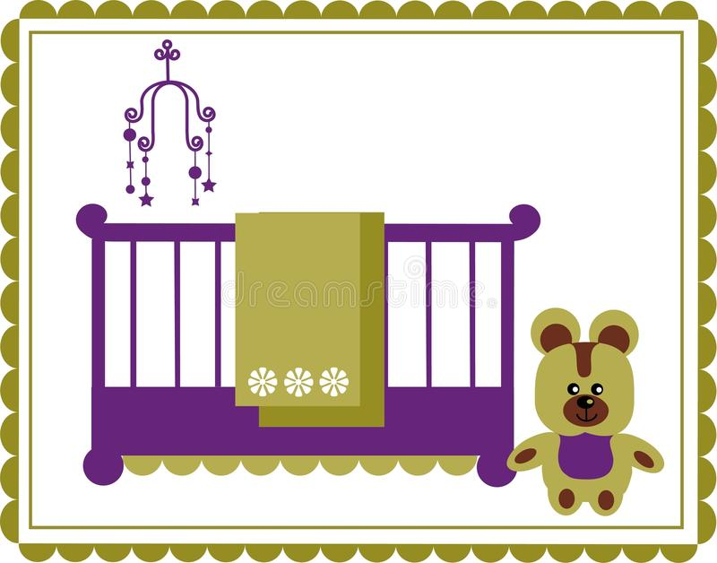Download Teddy Bear Next To Baby Cradle And Mobile Stock Illustration - Image: 16068393