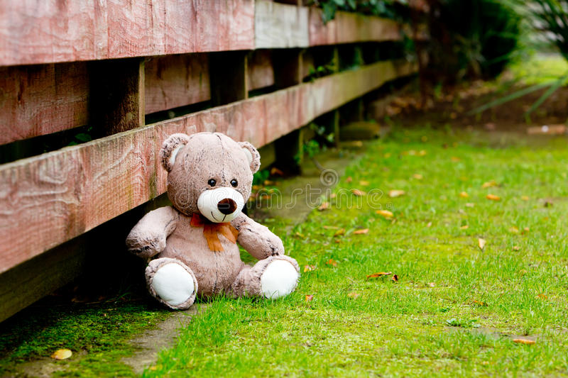 Teddy Bear next to fence. Teddy Bear next to wooden fence royalty free stock image