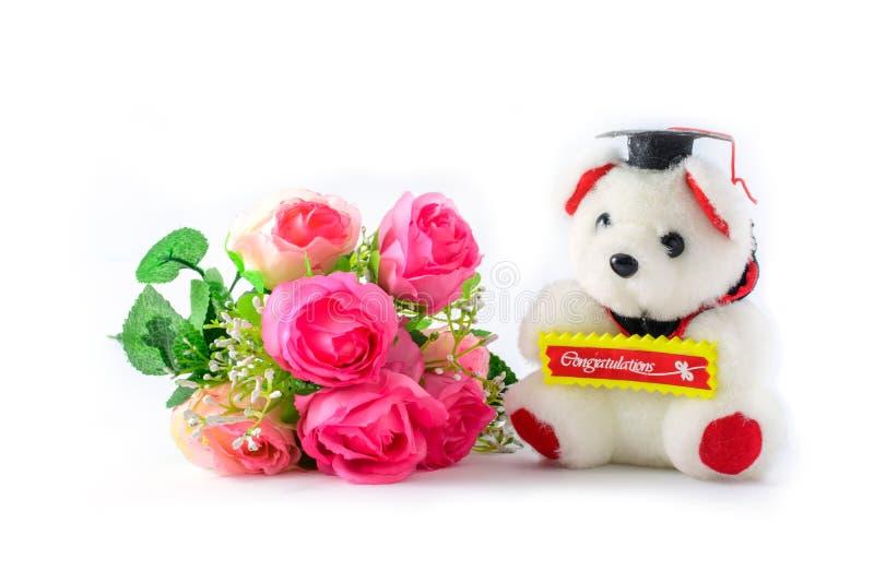 Teddy Bear och blommor royaltyfri fotografi