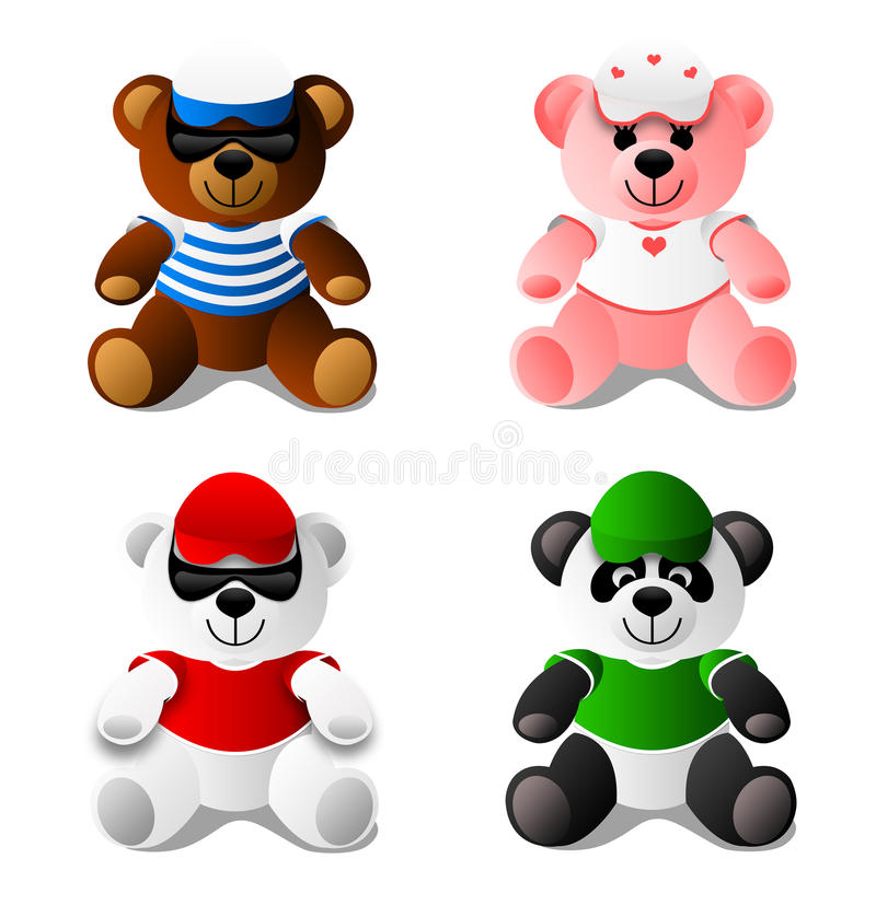 Teddy Bear, Panda, Toys vector illustration