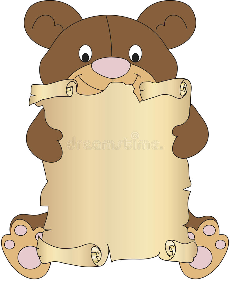 Download Teddy bear with parchment stock illustration. Image of scrap - 31528721
