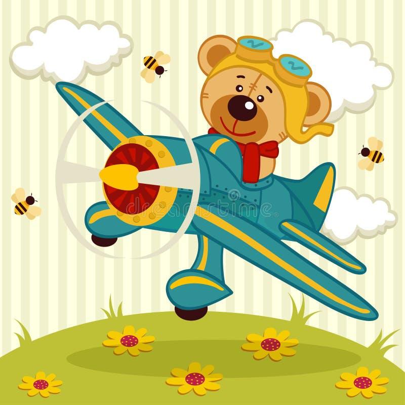 Teddy bear pilot. Teddy bear fly on a airplane - vector illustration royalty free illustration