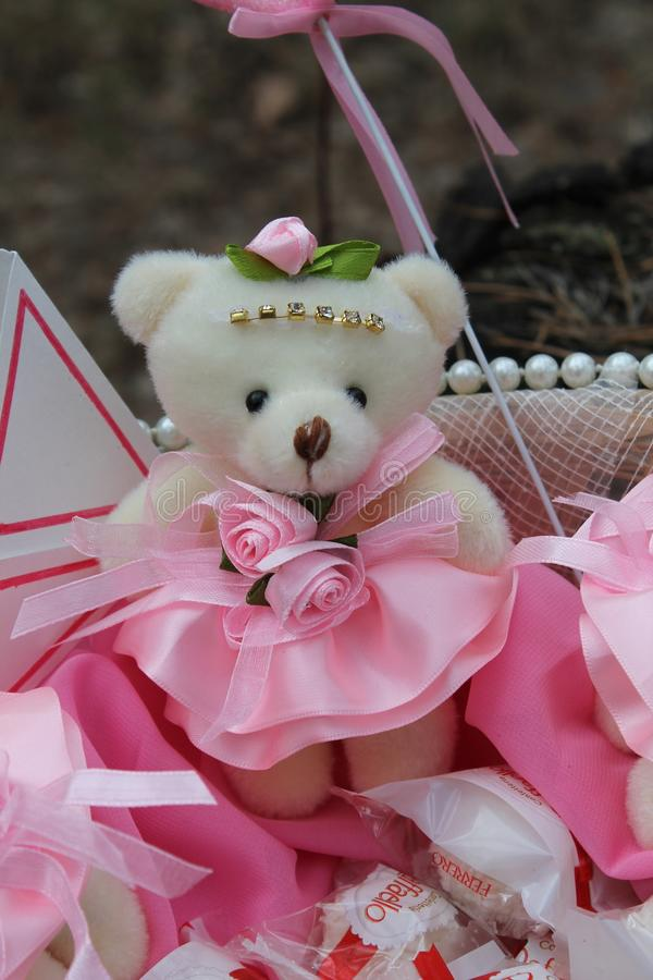 Teddy bear in a pink dress stock photography