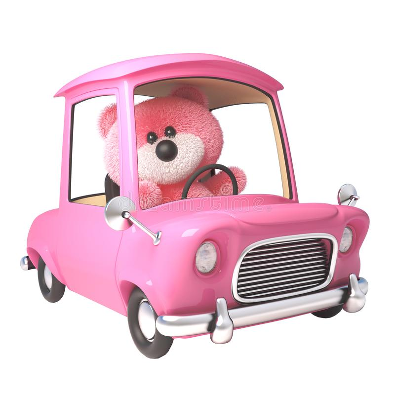 Teddy bear with pink fluffy fur driving her new pink car, 3d illustration stock illustration