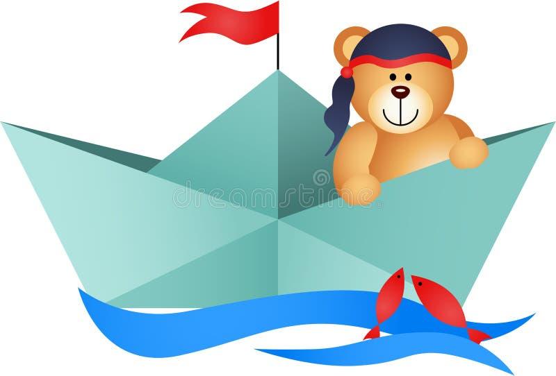 Teddy Bear Pirate em um barco ilustração do vetor
