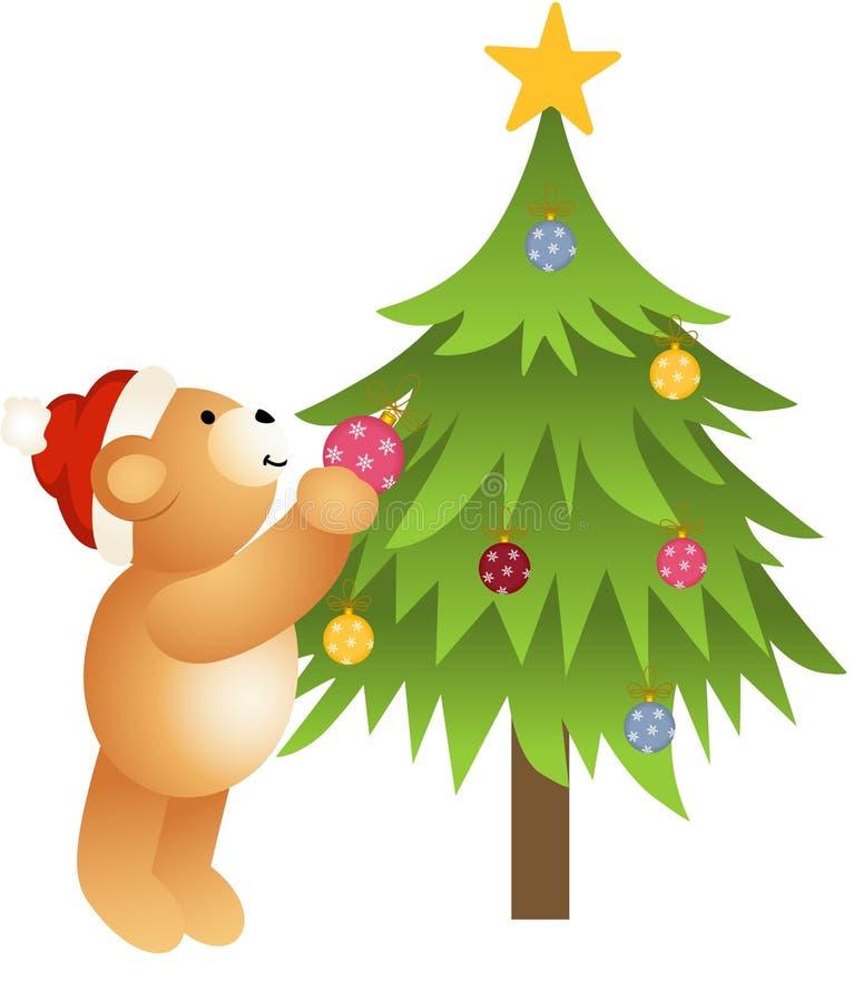 Teddy bear placing glass balls in Christmas tree иллюстрация вектора
