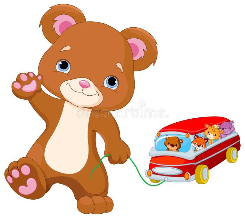 Teddy Bear Plays Toy Bus stock illustration