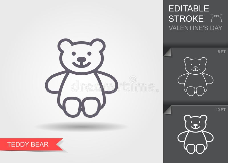 Teddy bear plush toy. Line icon with editable stroke with shadow vector illustration